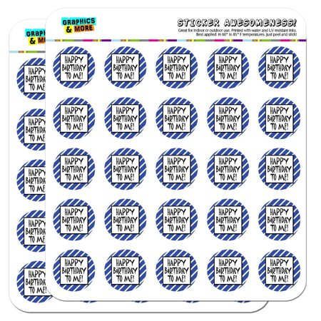 "Happy Birthday To Me Stripes Blue Funny 1"" Scrapbooking Crafting Stickers"