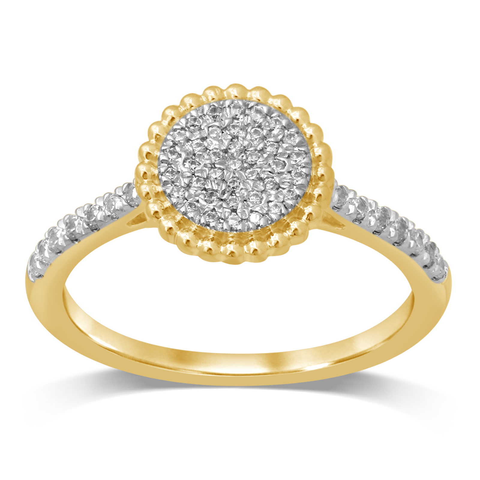 Diamond Jewel 10K Yellow Gold 1/4 Cttw Diamond Cluster Engagement Ring