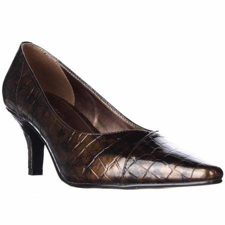 Womens Easy Street Chiffon Low-Heel Comfort Pumps - Bronze Patent