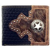Western Genuine Woven Leather Star Cowhide Mens Bifold Short Wallet