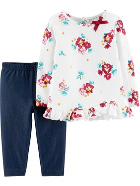 d01b587c9ad8 Product Image Long Sleeve Floral T-Shirt & Leggins, 2-Piece Outfit Set ( Toddler