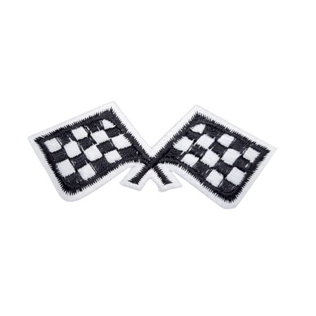 Small - Checkered Racing Flags - Iron on Applique/Embroidered - Checkered Flag Racing