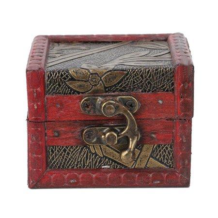 LYUMO Retro Wooden Jewelry Box Vintage Decorative Jewelry Storage Lock Box Wedding Candy Gift Case ()