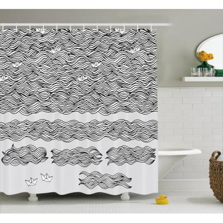 Vintage Boat Shower Curtain Wavy Sea With Little Paper Boats Childhood Memory Sketch Artwork
