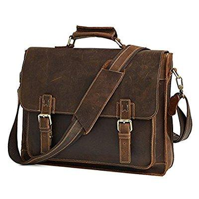... zeemoo men s vintage crazy horse leather business bag work tote 15-inch  laptop briefcase messenger 98c5cb841ac1c