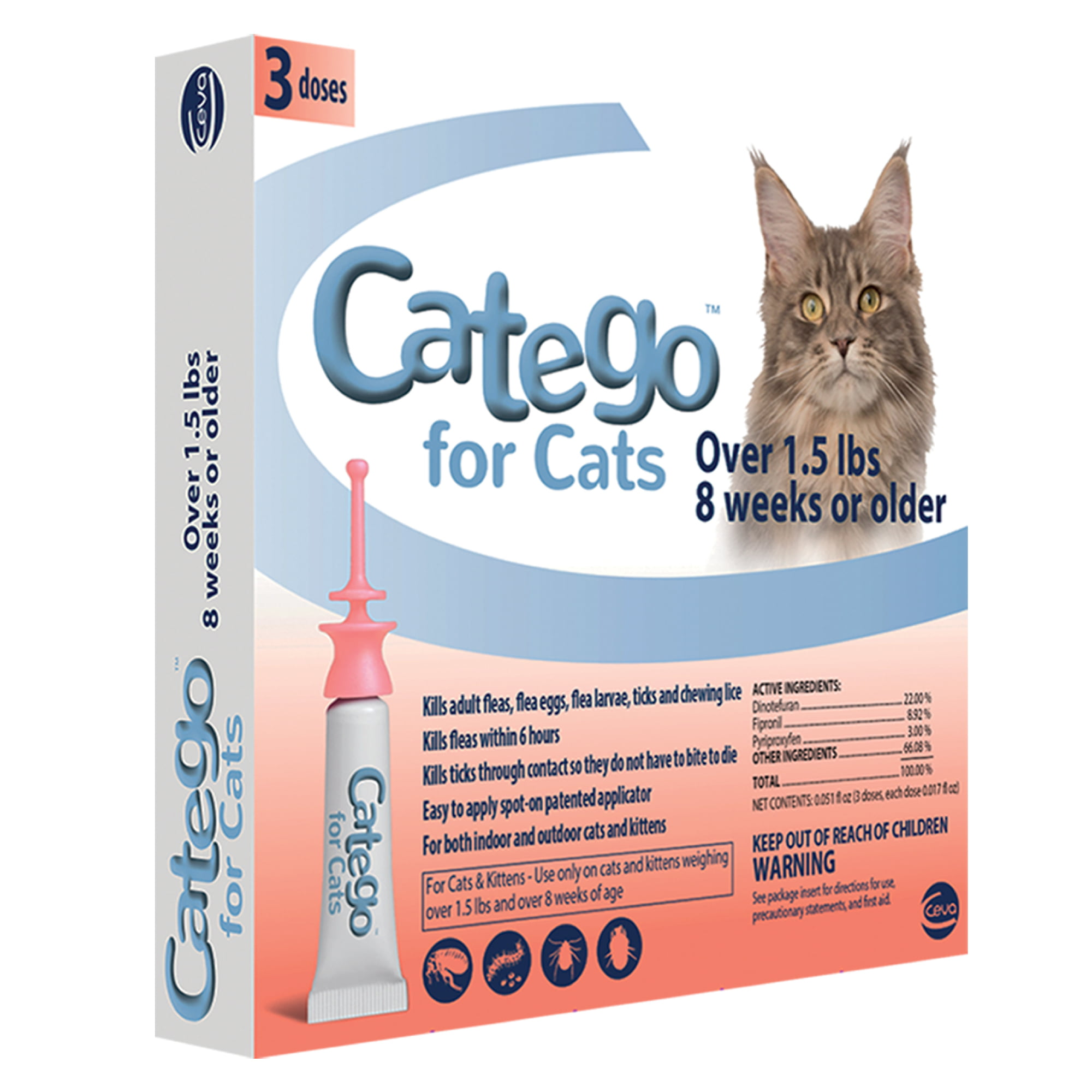 Catego Flea & Tick Control for Cats (3 Doses) by CEVA