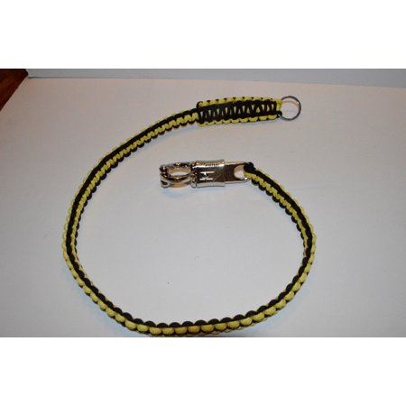 Biker Whip Motorcycle Get Back 34   550 Paracord   Chrome Panic Snap Yellow Black