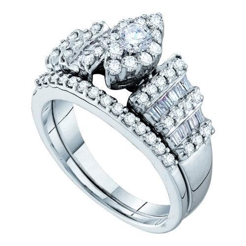 1.03Ctw Diamond Fashion Bridal Set Womens Fixed Ring Size - 7