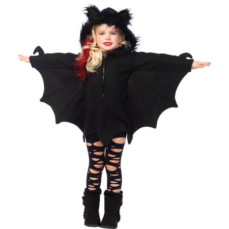 Leg Avenue Girl's Cozy Bat Zipper Dress Costume - Costumes Black Dress