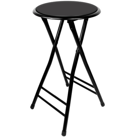 Folding Stool – Heavy Duty 24-Inch Collapsible Padded Round Stool with 300 Pound Capacity for Dorm, Rec Room or Gameroom by Trademark Home (Black) ()