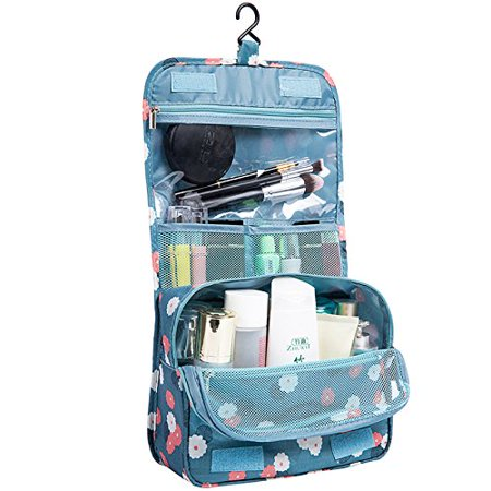 Toiletry Bag Multifunction Printed Cosmetic Bag Makeup Kit Pouch Waterproof Travel Hanging Hook Organizer Travel Case for Women Girls