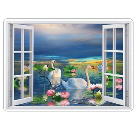 Pvc m nage bricolage mur ornement motif cygne d calque d for Autocollant mural walmart