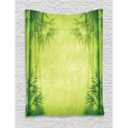 Bamboo House Decor Wall Hanging Tapestry, Chinese Banmboo Trees Design Asian Fengshui Style Simple Organized Relaxing Life Image, Bedroom Living Room Dorm Accessories, By Ambesonne