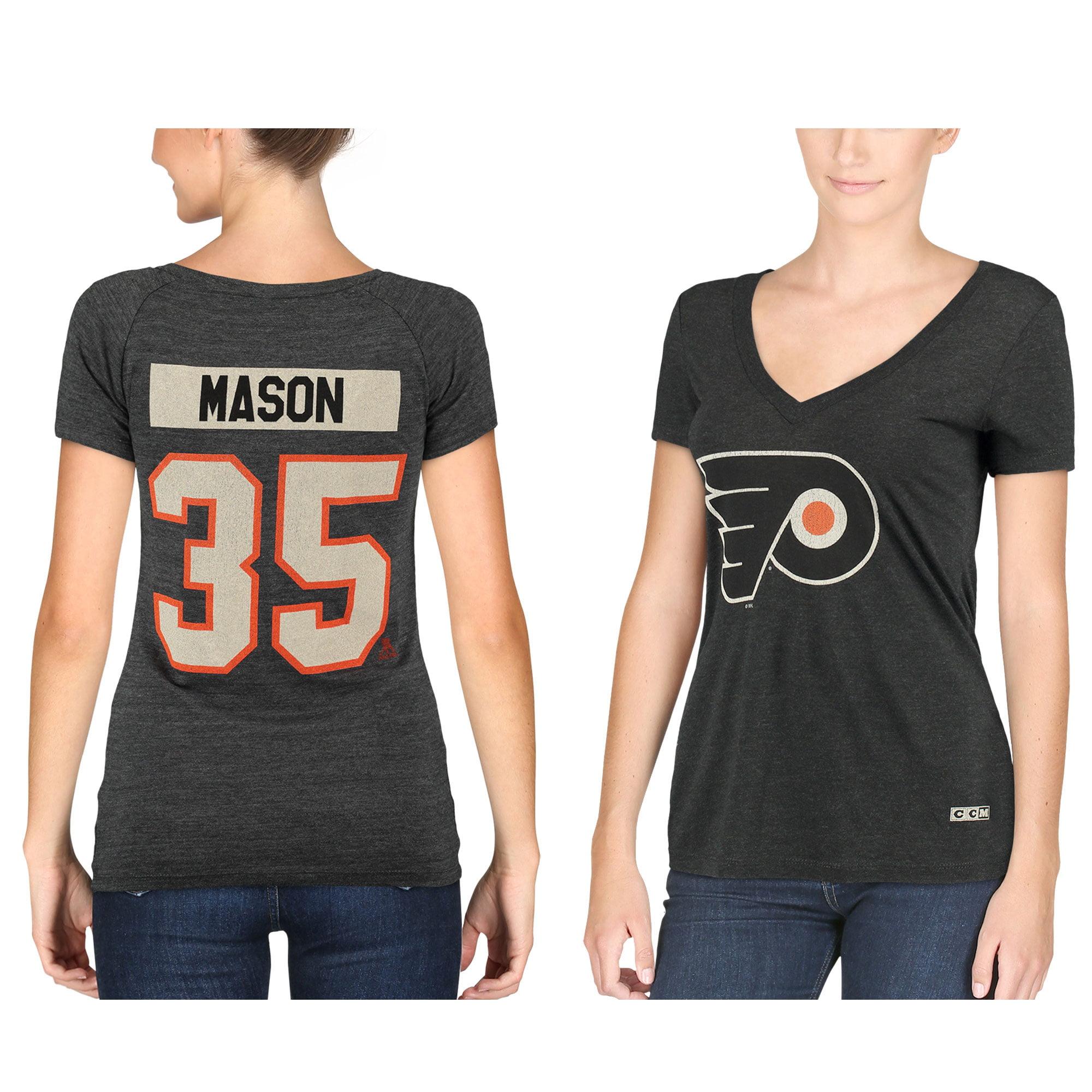 Steve Mason Philadelphia Flyers CCM Women's Name & Number Tri-Blend V-Neck T-Shirt - Black