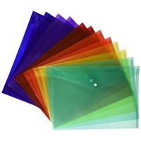 Lightahead? Clear Document Folder with snap button, Poly Envelope, US LETTER / A4 size, Pack of 24 in 6 assorted Colors, Blue, Green, Orange, Yellow, Purple, Maroon
