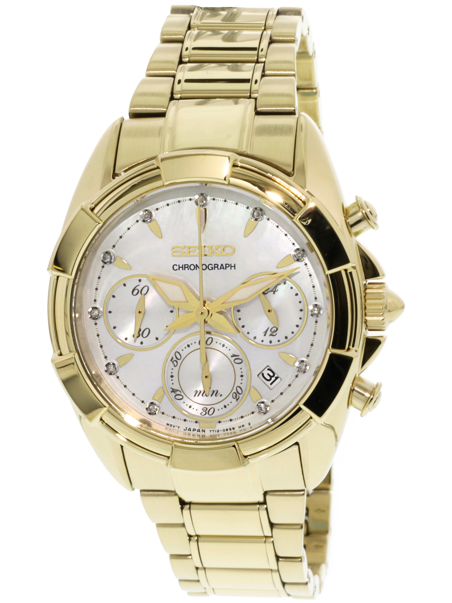 Men's SRW782 Gold Stainless-Steel Plated Japanese Chronograph Fashion Watch
