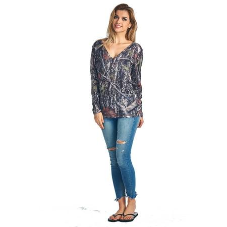 True Fit Camo (Women's V-Neck Long Sleeve Camo Shirt True Timber Made in the USA )