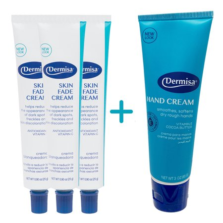 Dermisa Skin Fade Cream, Lighten and Prevent Age Spots 0.90 oz. (Pack of 3) + 1 Free Dermisa Hand Cream with Vitamin E. Smooth and Moisturize. 3 (Best Way To Lighten Age Spots)