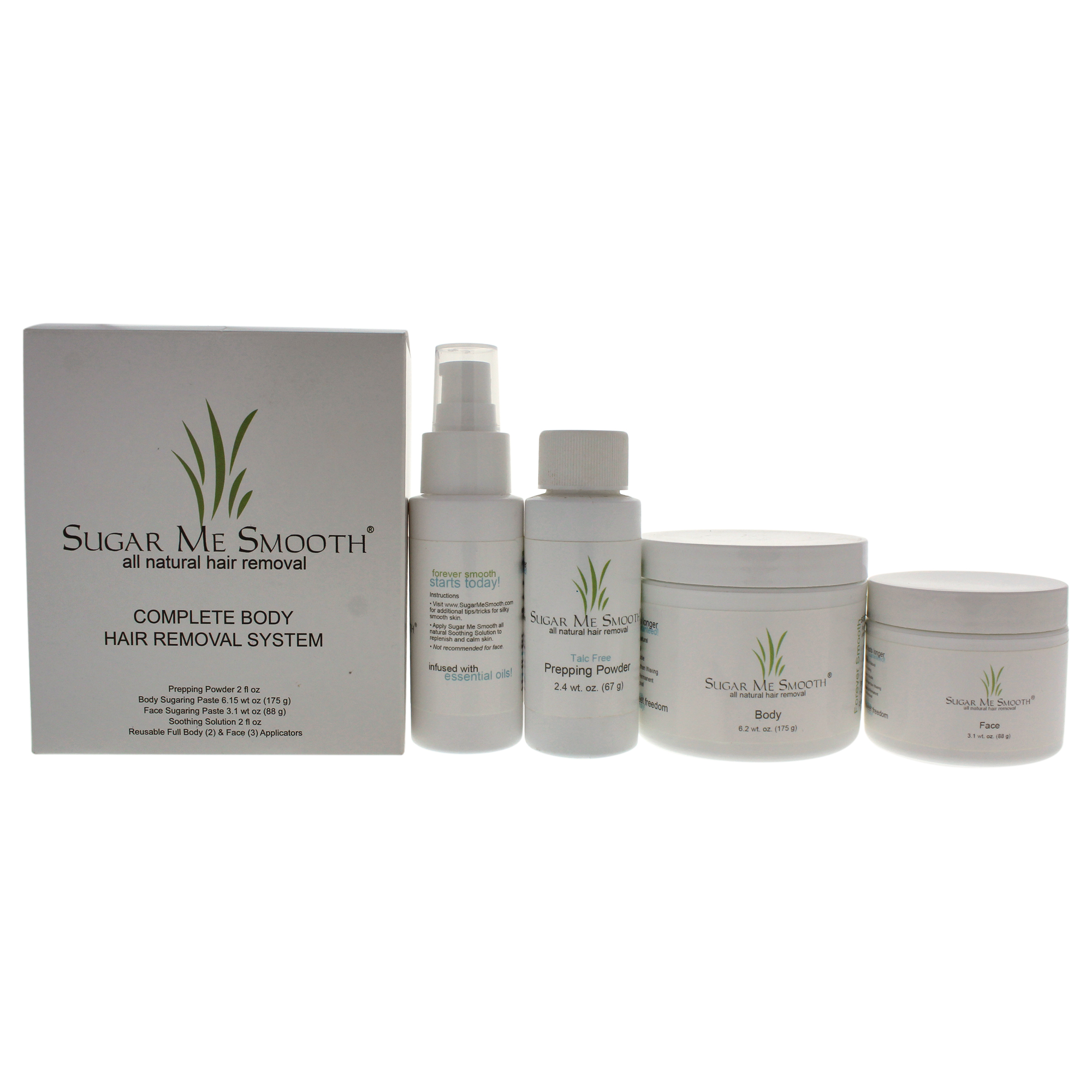 Complete Body Hair Removal System Kit By Sugar Me Smooth 9 Pc Kit