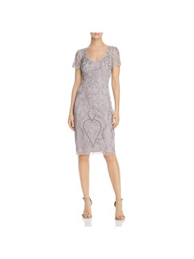 Adrianna Papell Womens Sheath Embellished Evening Dress