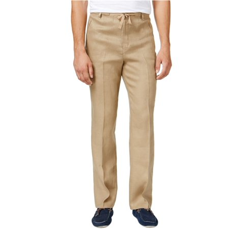 Tasso Elba Mens Linen Drawstring Casual Trousers
