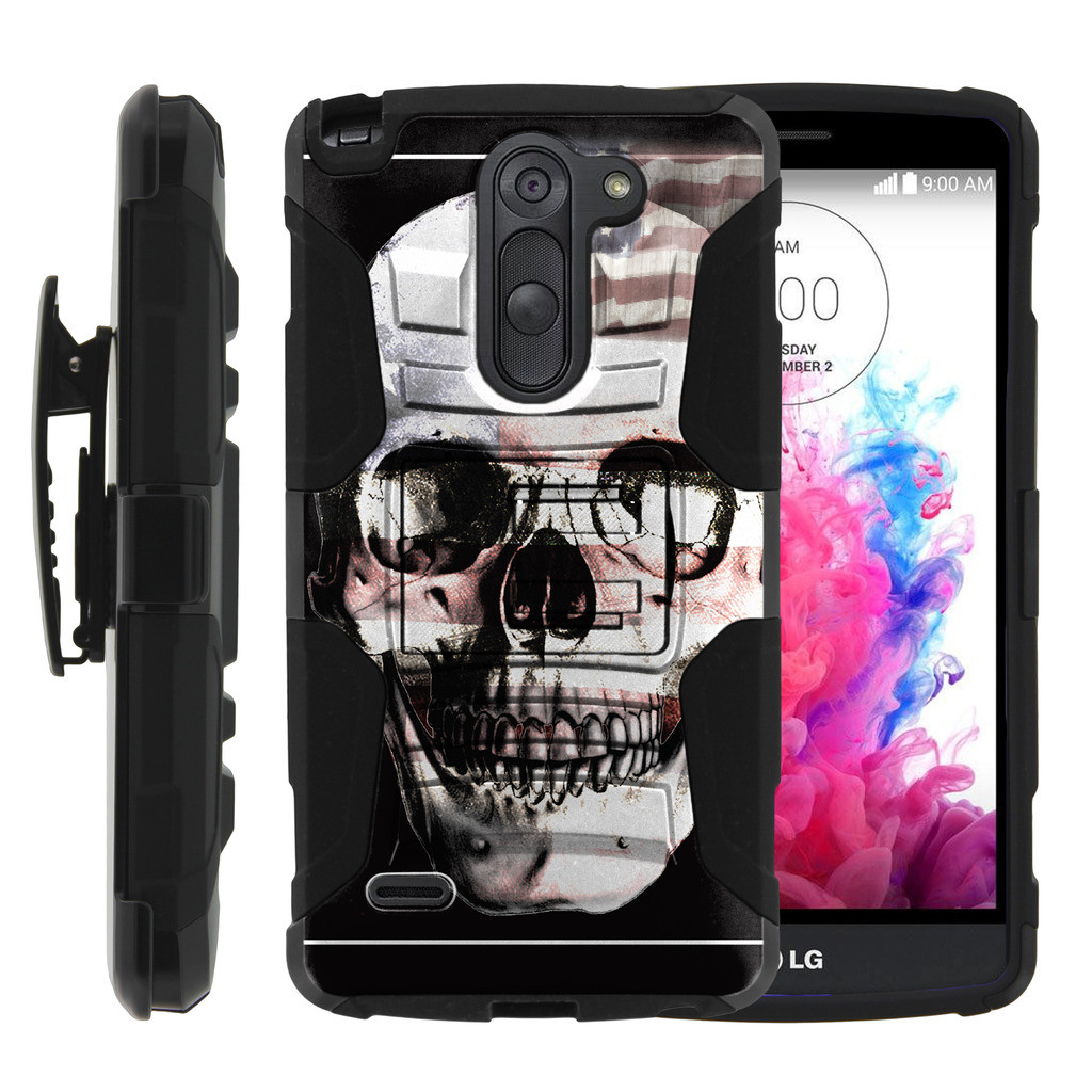 LG G3 Stylus Case | LG D690 Case | G3 Stylus Holster Case [ Clip Armor ] Rugged Case with Kickstand + Holster - USA Skull