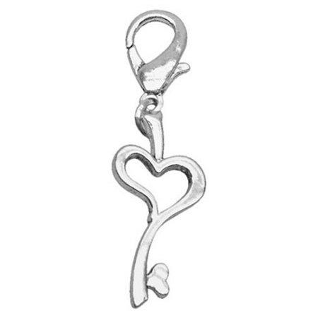 Chrome Lobster Claw Charm Heart Key