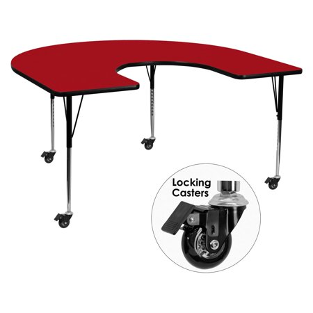 Horseshoe Table Decorations (Flash Furniture Mobile 60''W x 66''L Horseshoe Shaped Activity Table with Red Thermal Fused Laminate Top and Standard Height Adjustable)