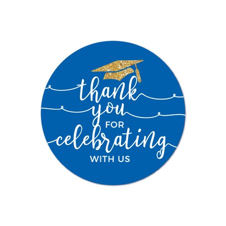 Royal Blue and Gold Glittering Graduation, Round Circle Label Stickers, Thank You for Celebrating with Us, 40-Pack