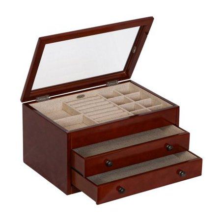 mele co haywood glass top wooden jewelry box walnut