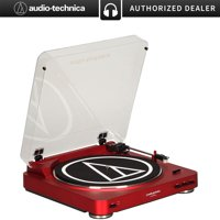 Audio-Technica AT-LP60RD Fully Automatic Stereo Turntable System (Red) + Deco Gear Bluetooth Adapter