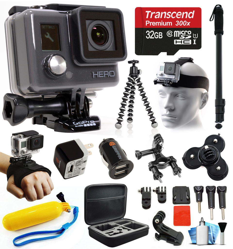 GoPro HD HERO Waterproof Action Camera Camcorder with Accessories Bundle Package includes 32GB microSD Card + Selfie Stick + Head/Helmet Strap + Wall & Car Charger + Car Suction Cup + Case (CHDHA-301) GOPROACTIONHEROK4