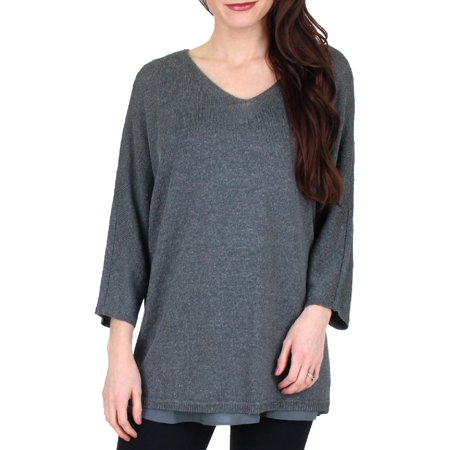Nic + Zoe Womens Lived In Fall Linen Blend V-Neck Pullover Top Tencel Blend Shirt