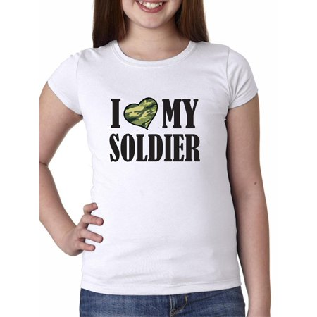 I Camo Heart My Soldier Support Military Troops Girl's Cotton Youth T-Shirt (Camo Heart T-shirt)
