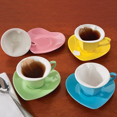 Heart Shaped Cups And Saucers: Multi-Colored 5 oz. Ceramic ()