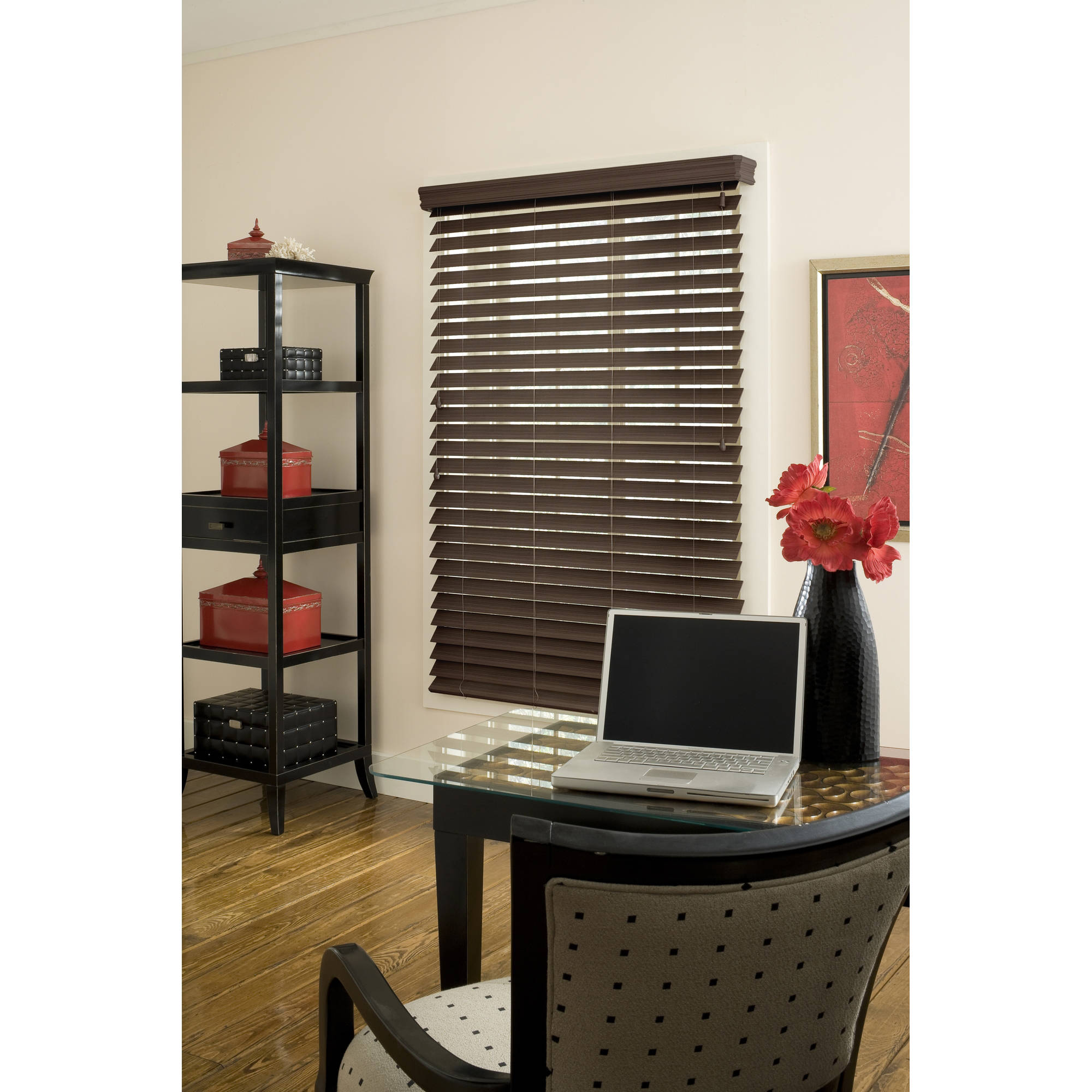 "Richfield Studio 2.5"" Faux Wood Blind, Espresso, 48"" Length"