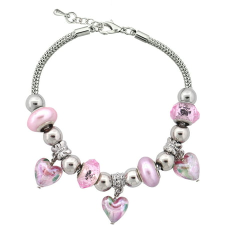 Bracelets With Beads (Silvertone Pink Heart Charm and Glass Beads Bracelet with Extender,)