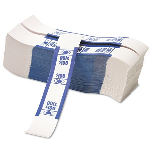 "Pm Securit $100 Currency Strap - 1.25"" Width X 7.88"" Length - 1000 Wrap[s] - Self-stick, Adhesive - Kraft - Blue (PMC55027)"