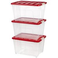 IRIS USA, 53 Quart Holiday Storage Tote, 3 Pack, Red