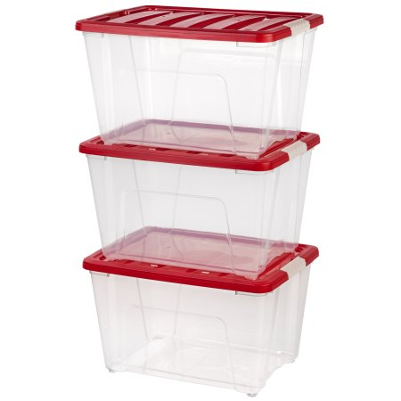 IRIS 53 Qt. Holiday Storage Tote , 3 Pack, Red
