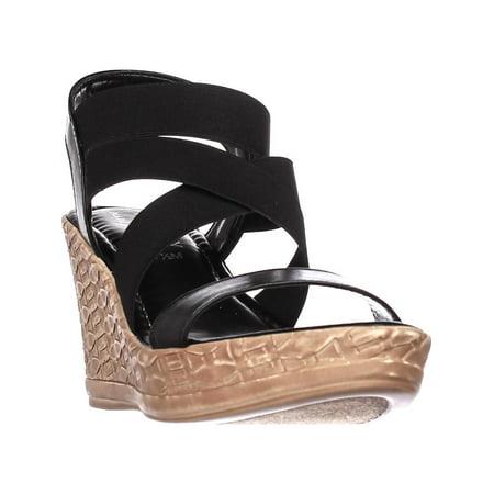 Womens Tuscany Easy Street Felisa Strappy Wedge Sandals, Black