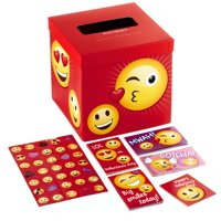 Hallmark Kids Valentine Cards and Mailbox for Classroom Exchange, Emoticons (1 Box, 32 Cards, 35 Stickers, 1 Teacher Card)