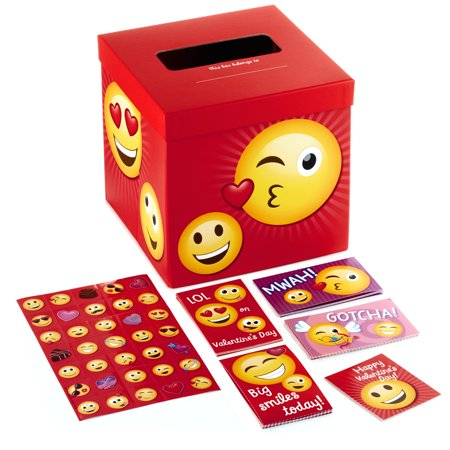 Valentine For Kids (Hallmark Kids Valentine Cards and Mailbox for Classroom Exchange, Emoticons (1 Box, 32 Cards, 35 Stickers, 1 Teacher)