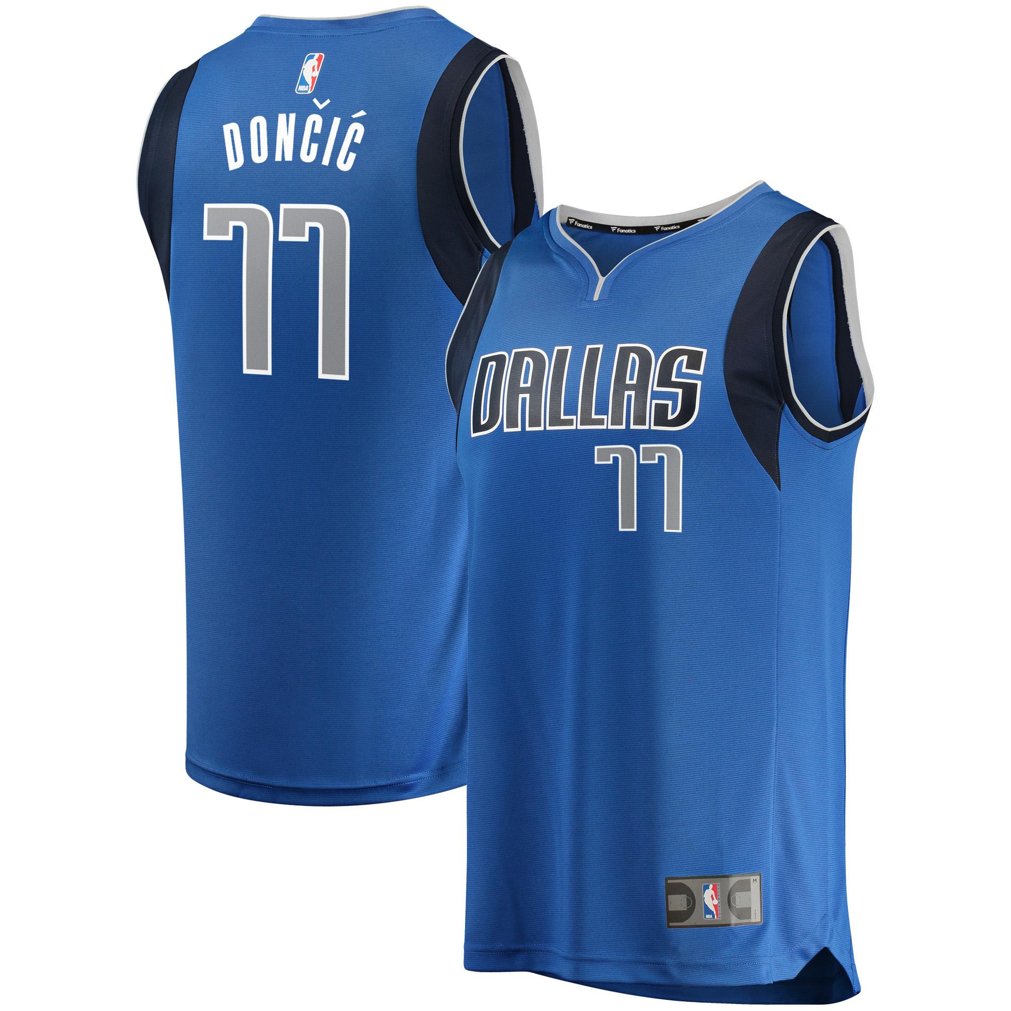 Luka Doncic Dallas Mavericks Fanatics Branded Fast Break Replica Jersey Blue - Icon Edition