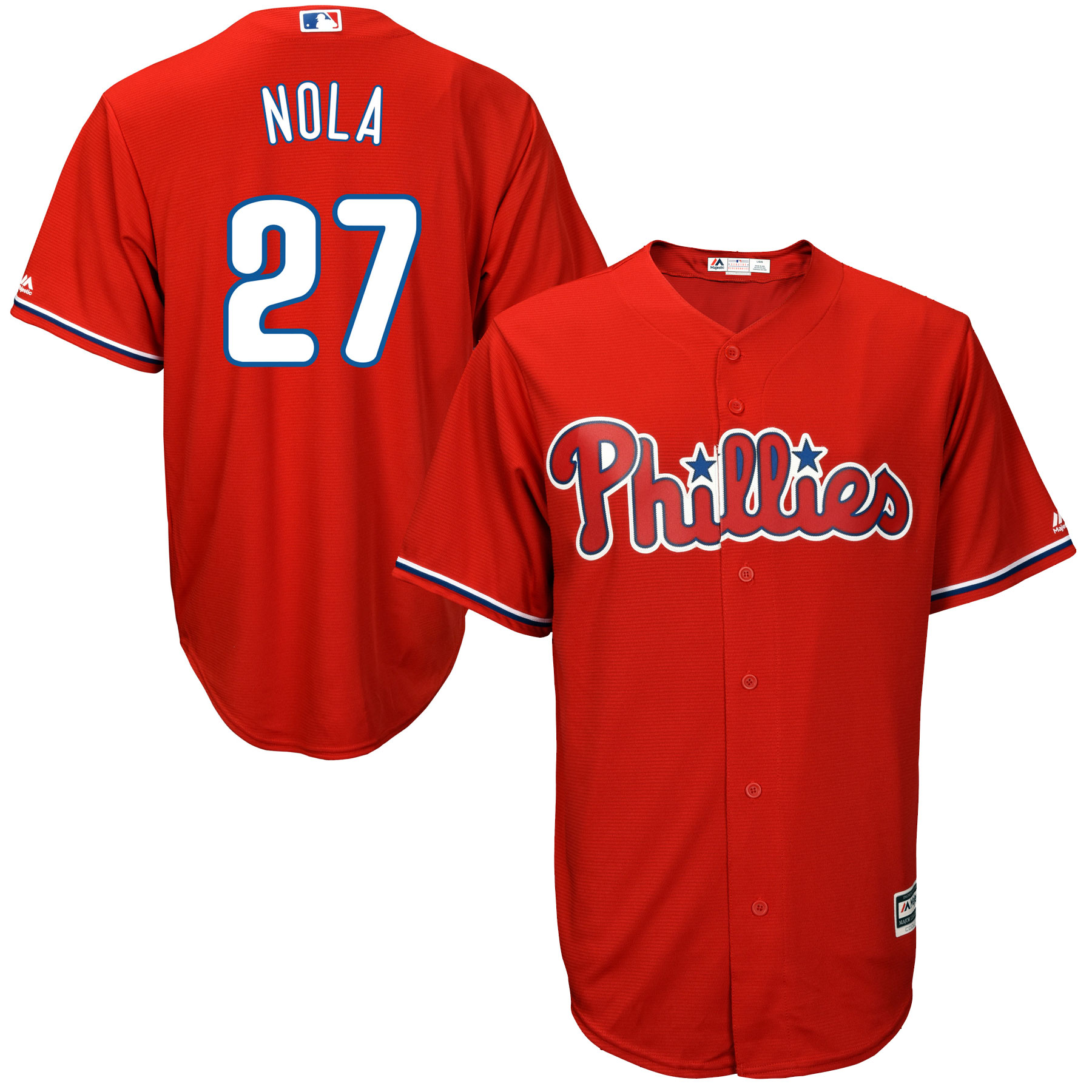 Aaron Nola Philadelphia Phillies Majestic Official Cool Base Player Jersey - Scarlet