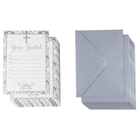 60-Pack Religious Invitations - Christian Invitation Cards, Silver Cross and Floral Pattern, Ideal for Funeral, Baptism, Christening, Church Events, V-Flap Envelopes Included, 5 x 7
