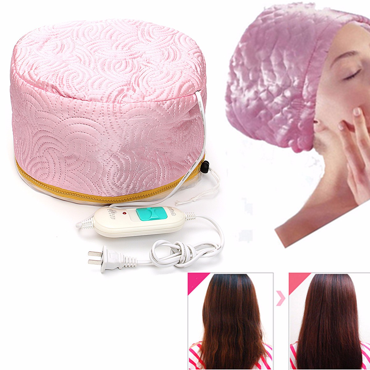 220V Electric Hair Thermal Treatment Beauty Steamer SPA Nourishing Hair Care Cap Waterproof and Anti-electricity Control Heating