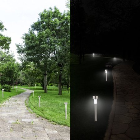Solar Powered LED Lawn Light Stainless Steel Garden Landscape Lamp with Inserting Pole for Outdoor Pathway Garden Yard Patio 1pcs warm white - image 1 de 7