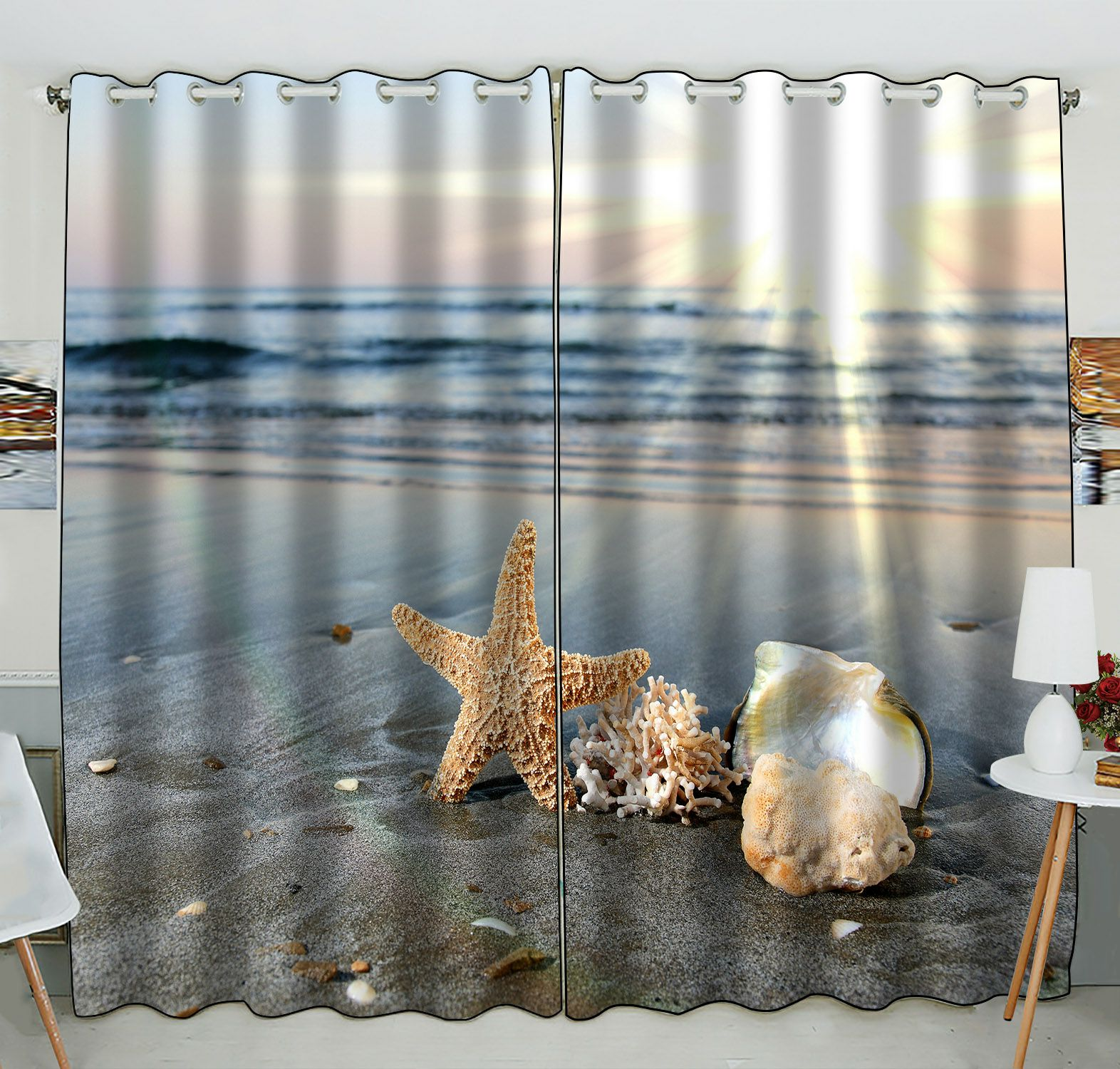 ZKGK Starfish Sea Ocean Waves Window Curtain Drapery/Panels/Treatment For Living Room Bedroom Kids Rooms 52x84 inches Two Panel