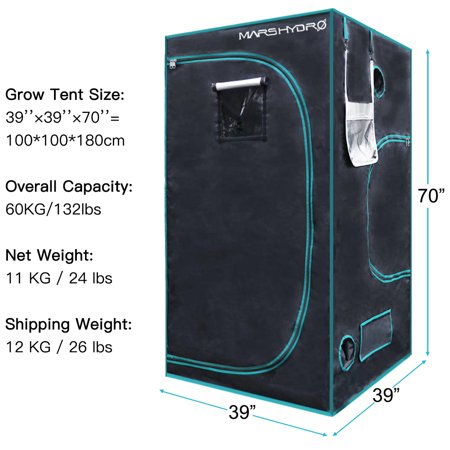 "39""x39""x70"" Indoor Grow Room Tent Hydroponic Grow System Seedling Germination Plant Growing Garden Greenhouse Non Toxic Home Box Cabinet Hut 100% Reflective Mylar Durable Oxford Canvas Mars Hydro thumbnail"